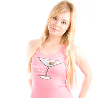 Be As You Are Breakfast Lunch Dinner Hot Pink Women's Tank Top Sleeveless Top Martini Glass Olive Shirt Ladies Zoom