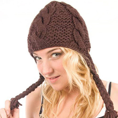 Delux Chocolate Brown Cable Knit Pilot Youth Adult Knitted Hat Warm Wool Cute Braids Ear Flaps