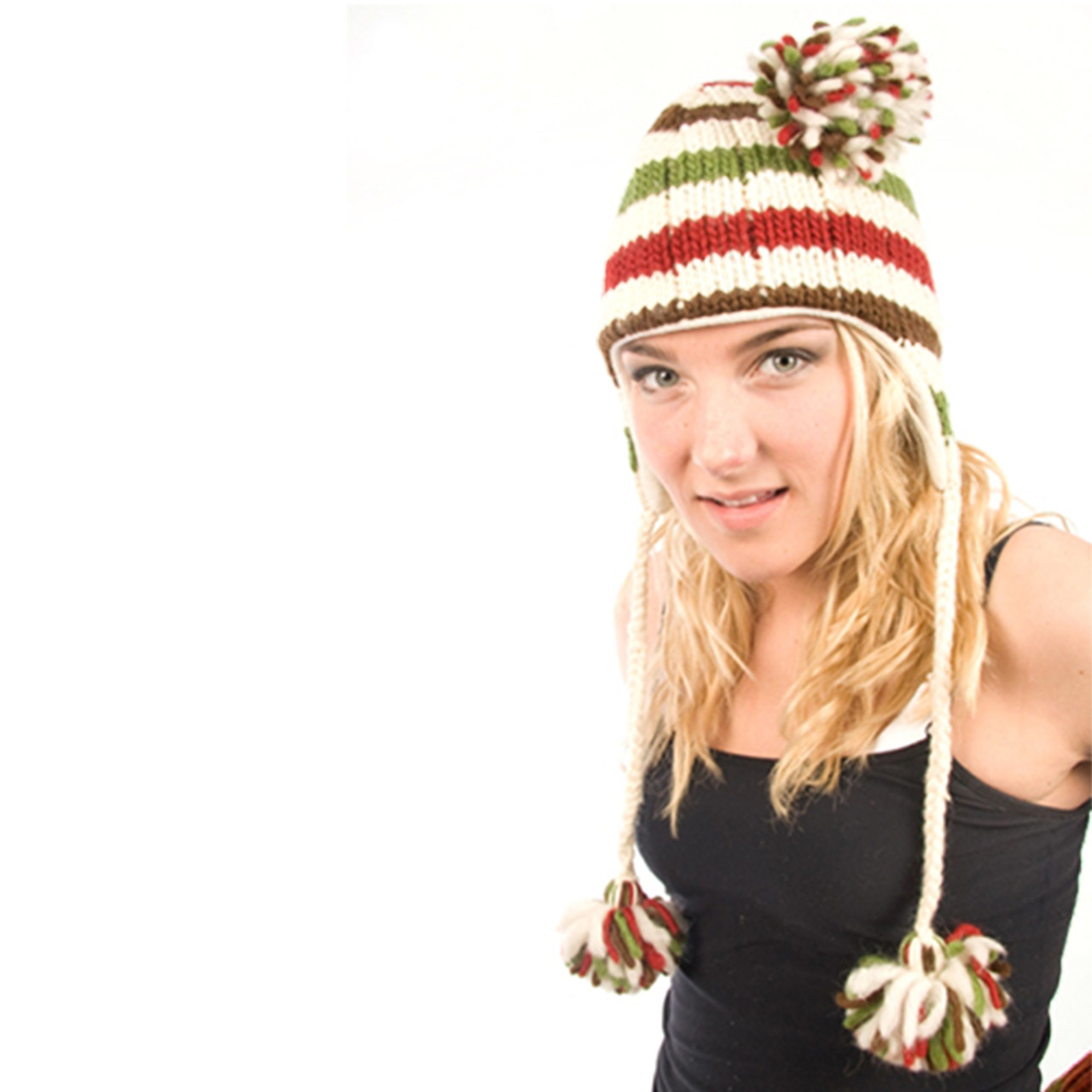 16bb0406b81a6 Delux Ivory Striped Pom Pom Cable Knit Winter Wool Hat - Sunshine on ...