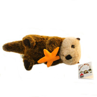"Stuffed Animal House 14"" Sea Otter Starfish Northern Wildlife Furry Fuzzy Soft Plush Toy"