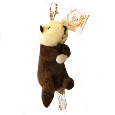"""Stuffed Animal House 5"""" Laying Back Otter Keychain Clam Plush Toy Wild Wildlife Zipper Pull Mini Key Chain Tiny Soft Furry Fuzzy Clip Backpack Critter"""