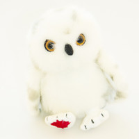 "Stuffed Animal House 4.5"" Sitting Grey Spotted Snowy Owl Baby White Gray Spots Perched Plush Maplefoot Babies Embroidered Maple Leaf Mini Toy Wild Wildlife Bird Audubon Soft Furry Fuzzy Nature Birds"