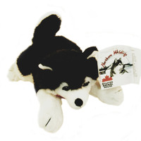 "Stuffed Animal House 9"" Siberian Husky Black White Northern Wildlife Dog Plush Toy Canada Collar Ribbon Maple Leaf Lying down Fuzzy Furry Canadian Puppy Doggie"