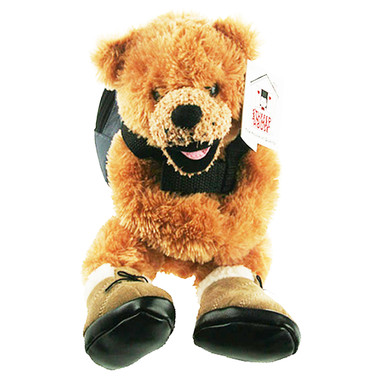 """Stuffed Animal House 10"""" Beige Brown Bear Realistic Hiking Boots Functional Removable Backpack Embroidered Canadian Maple Leaf Smiling Plush Toy Wildlife"""