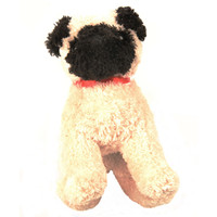 "Douglas Cuddle Toy 6"" Muzzle Pug Little Dog RARE Tan Pet Fuzzy Furry Soft Plush Red Ribbon Collar Stuffed Animal 1541"