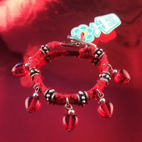 HOTI Hemp Handmade Red Heart Love Rocks Red Hemp Fancy Metal Silver Spike Beads Ladies Womens Charm Bracelet Made in Canada Hand Crafted Made in Toronto Made in Ontario Boho Chic Beaded Pressed Glass Hearts Charms Clip-It 420 Marijuana Cannabis Alligator Clasp Roach Clip Rock Toronto Ontario Canadian