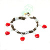 HOTI Hemp Handmade Red Heart Love Rocks Black Hemp Fancy Metal Silver Spike Beads Ladies Womens Charm Bracelet Made in Canada Hand Crafted Made in Toronto Made in Ontario Boho Chic Beaded Pressed Glass Hearts Charms Clip-It 420 Marijuana Cannabis Alligator Clasp Roach Clip Rock Toronto Ontario Canada