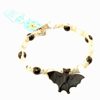HOTI Hemp Handmade Black Bat Peruvian Ceramic Natural Hemp Black White Wood Beads Mens Bracelet Hand Crafted in Toronto Made in Ontario Made in Canada Rock Tattoo Rocker Beaded Crow Beads Alligator Clip Roach Clip Clip It 420 Clip Toronto Ontario Canada