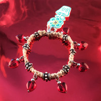 HOTI Hemp Handmade Natural Heart Love Rocks Natural Hemp Fancy Metal Spike Beads Ladies Womens Charm Bracelet Made in Canada Hand Crafted Made in Toronto Made in Ontario Boho Chic Beaded Glass Hearts Charms Clasp-It Lobster Clasp Rock Toronto Ontario Canada