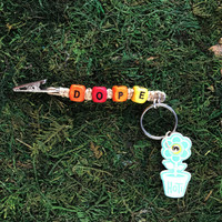 HOTI Hemp Handmade Dope Natural Hemp Keychain Key Chain Wood Cube Square Alphabet Beads Multi Colour Red Yellow Orange Word Up Roach Clip Made in Canada Hand Crafted Made in Toronto Made in Ontario Beaded Cannabis Accessory Weed Pot Mary Jane Accessories 420 Stoner Gift Clip Clip-It Alligator Clip Canadian Toronto Ontario Canada