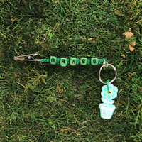HOTI Hemp Handmade Green Hemp Keychain Key Chain Roach Clip Wood Cube Square Green Alphabet Beads Word Up Made in Canada Hand Crafted Made in Toronto Made in Ontario Beaded Cannabis Marijuana Accessory Dope Stoner Gift Weed Accessories Pot 420 Clip Clip-It Alligator Clip Canadian Toronto Ontario Canada