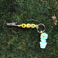 HOTI Hemp Handmade Bud Yellow Hemp Keychain Key Chain Wood Cube Square Alphabet Beads Word Up Roach Clip Ladies Men's Woman Women's Unisex Made in Canada Hand Crafted Made in Toronto Made in Ontario Beaded Marijuana Cannabis Accessories Pot Weed Accessory Dope Stoner Gift 420 Clip-It Alligator Clip Canadian Toronto Ontario Canada