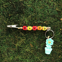 HOTI Hemp Handmade Baked Natural Hemp Keychain Roach Clip Key Chain Wood Cube Square Alphabet Beads Multi Colour Red Yellow Orange Word Up Made in Canada Hand Crafted Made in Toronto Made in Ontario Beaded Weed Pot Accessories Marijuana Accessory Cannabis Stoner Gift 420 Clip-It Alligator Clip Canadian Clip Toronto Ontario Canada