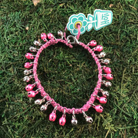 HOTI Hemp Handmade Pink Hemp Anklet Pink Silver Metal Metallic Mini Steel Jingle Bells Ring My Bell Belles Ladies Women's Girls Woman Ankle Bracelet Hand Crafted Made in Canada Made in Toronto Made in Ontario Bali Boho Chic Clasp-It Lobster Claw Clasp Removable Toronto Ontario Canada Canadian