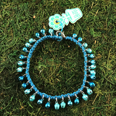 HOTI Hemp Handmade Turquoise Hemp Anklet Pastel Blue Metal Mini Metallic Bells Ring My Bell Belles Ladies Women's Girls Jewellery for Woman Ankle Bracelet Hand Crafted Made in Canada Made in Toronto Made in Ontario Bali Boho Chic Clasp-It Lobster Claw Clasp Toronto Ontario Canada Canadian