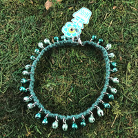HOTI Hemp Handmade Hemp Anklet Metal Metallic Mini Steel Jingle Bells Ring My Bell Belles Collection Green Custom Ladies Women's Girls Woman Ankle Bracelet Hand Crafted Made in Canada Made in Toronto Made in Ontario Bali Boho Chic Clasp-It Lobster Claw Clasp Removable Toronto Ontario Canada Canadian
