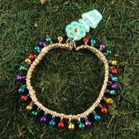 HOTI Natural Hemp Handmade Hemp Anklet Metal Metallic Mini Steel Jingle Bells Ring My Bell Belles Collection Multi Colour Blue Yellow Green Purple Blue Red Custom Ladies Women's Girls Woman Ankle Bracelet Hand Crafted Made in Canada Made in Toronto Made in Ontario Bali Boho Chic Clasp-It Lobster Claw Clasp Removable Toronto Ontario Canada Canadian