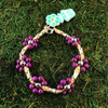 HOTI Hemp Handmade Natural Hemp Maria Signature Flower Power Anklet Purple Silver Metal Beads Tube Dog Bone Beaded Ladies Women's Woman Ankle Bracelet Hand Crafted Made in Canada Made in Toronto Made in Ontario Boho Chic Clasp-It Lobster Clasp Toronto Ontario Canada Canadian