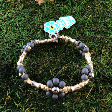 HOTI Hemp Handmade Natural Hemp Maria Signature Flower Power Anklet Gray Grey Silver Metal Beads Tube Dog Bone Beaded Ladies Women's Woman Ankle Bracelet Hand Crafted Made in Canada Made in Toronto Made in Ontario Boho Chic Clasp-It Lobster Clasp Toronto Ontario Canada Canadian
