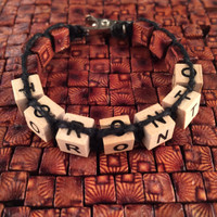 HOTI Hemp Handmade Toronto Black Hemp Square Wood Cube Alphabet Sunburst Brown Natural Beads Mens Womens Ladies Unisex Word Up Bracelet Hand Crafted Made in Toronto Made in Ontario Made in Canada Beaded Wood Beads Square Beads 420 Alligator Clip Roach Clip Clip It Clip Ontario Canada Canadian Collage