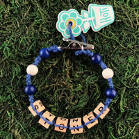 HOTI Hemp Handmade Stoner Blue Hemp Square Wood Cube Alphabet Brown Natural Beads Blue White Round Bead Mens Womens Ladies Unisex Word Up Bracelet Hand Crafted Made in Toronto Made in Ontario Made in Canada Beaded Wood Beads Square Beads 420 Dope Stoner Gift Alligator Clip Roach Clip Marijuana Cannabis Clip It Clip Toronto Ontario Canada Canadian