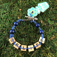 HOTI Hemp Handmade Spliff Blue Hemp Square Wood Cube Alphabet Brown Natural Beads Blue Round Bead Men's Women's Ladies  Man Woman Jewellery Unisex Word Up Roach Clip Bracelet Hand Crafted Made in Toronto Made in Ontario Made in Canada Beaded Wood Beads Square Beads 420 Alligator Clip Weed Accessory Pot Accessories Marijuana Cannabis Stoner Clip It Clip Toronto Ontario Canada Canadian Jewelry