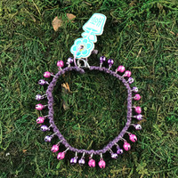 HOTI Hemp Handmade Hemp Anklet Metal Metallic Mini Steel Jingle Bells Ring My Bell Belles Collection Purple Custom Ladies Women's Girls Woman Ankle Bracelet Hand Crafted Made in Canada Made in Toronto Made in Ontario Bali Boho Chic Clasp-It Lobster Claw Clasp Removable Toronto Ontario Canada Canadian