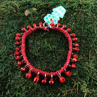 HOTI Hemp Handmade Hemp Anklet Metal Metallic Mini Steel Jingle Bells Ring My Bell Belles Collection Red Custom Ladies Women's Girls Woman Ankle Bracelet Hand Crafted Made in Canada Made in Toronto Made in Ontario Bali Boho Chic Clasp-It Lobster Claw Clasp Removable Toronto Ontario Canada Canadian