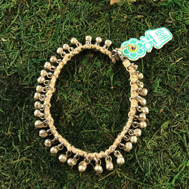 HOTI Hemp Handmade Natural Beige Hemp Anklet Silver Metal Brass Bells Ring My Bell Belles Jingle Bells Woman Girls Ladies Women's Ankle Bracelet Hand Crafted Made in Canada Made in Toronto Made in Ontario Bali Boho Chic Clasp-It Lobster Claw Clasp Toronto Ontario Canada Canadian
