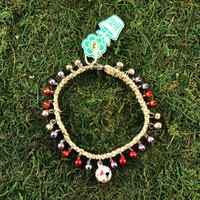 HOTI Hemp Handmade Natural Beige Hemp Anklet White Silver Purple Red Metal Brass Steel Mini Bells Ring My Bell Belles Jingle Bells Stars Ladies Women's Girls Jewellery for Woman Ankle Bracelet Hand Crafted Made in Canada Made in Toronto Made in Ontario Bali Boho Chic Clasp-It Lobster Claw Clasp Toronto Ontario Canada Canadian Jewelry