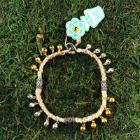 HOTI Hemp Handmade Natural Beige Hemp Anklet Yellow Gold Silver Metal Steel Bells Ring My Bali Bell Belles Jingle Bells Waves Studs Tube Bali Style Antique Silver Beads Girls Woman Ladies Women's Ankle Bracelet Hand Crafted Made in Canada Made in Toronto Made in Ontario Bali Boho Chic Clasp-It Lobster Clasp Toronto Ontario Canada Canadian
