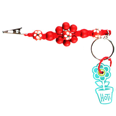 HOTI Hemp Handmade Red Hemp Flower Power Keychain Floral Beaded Roach Clip Key Chain Wood Round Painted White Green Flowers Beads Signature Made in Canada Hand Crafted Made in Toronto Made in Ontario 420 Marijuana Cannabis Clip-It Mini Metal Alligator Clip Split Ring Canadian Clip Toronto Ontario Canada