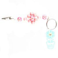 HOTI Hemp Handmade White Hemp Pink Flower Power Keychain Floral Beaded Roach Clip Key Chain Wood Round Painted Orange Flowers Beads Signature Made in Canada Hand Crafted Made in Toronto Made in Ontario 420 Marijuana Cannabis Clip-It Mini Metal Alligator Clip Split Ring Canadian Clip Toronto Ontario Canada