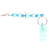 HOTI Hemp Handmade Turquoise Hemp White Flower Power Keychain Floral Beaded Roach Clip Key Chain Wood Round Painted Yellow Flowers Beads Signature Made in Canada Hand Crafted Made in Toronto Made in Ontario 420 Marijuana Cannabis Clip-It Mini Metal Alligator Clip Split Ring Canadian Clip Toronto Ontario Canada