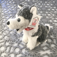 "Stuffed Animal House 7"" Siberian Husky Grey White Sitting Happy Smiling Gray Dog Plush Toy Canada Maple Leaf Collar Ribbon Fuzzy Furry Canadian Puppy Doggie Left"