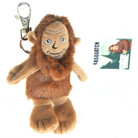 "Stuffed Animal House 4"" Sasquatch Bigfoot Keychain Wild Creature Zipper Pull Mini Key Chain Tiny Soft Brown Furry Fuzzy Clip Backpack Critter Canadian Wildlife Sitting Standing"