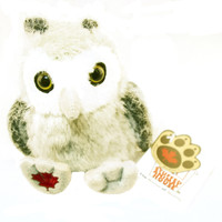 "Stuffed Animal House 4.5"" Sitting Gray Owl Baby Gray Perched Plush Chick Maplefoot Babies Embroidered Maple Leaf Mini Toy Wild Wildlife Bird Audubon Soft Furry Fuzzy Nature Birds"