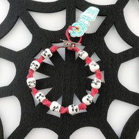 HOTI Hemp Handmade Skull Bead Red Hemp Acrylic White Black Plastic Skulls Beads Mens Women's Ladies Unisex Twisted Spiral Knotted Bracelet Hand Crafted Made in Toronto Made in Ontario Made in Canada Tattoo Punk Rocker Halloween Beaded Alligator Clip Roach Clip Clip It 420 Marijuana Cannabis Clip Toronto Ontario Canada