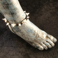 HOTI Hemp Handmade Heavy Metal Stud Spike Bead Anklet Black Natural Beige Hemp Studs Cone Spikes Beads Women's Ladies Knotted Ankle Bracelet Hand Crafted Made in Toronto Made in Ontario Made in Canada Tattoo Punk Rocker Halloween Beaded Lobster Clasp Toronto Ontario Canada