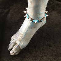 HOTI Hemp Handmade Heavy Metal Stud Spike Bead Anklet Black Turquoise Blue Hemp Studs Cone Spikes Beads Women's Ladies Knotted Ankle Bracelet Hand Crafted Made in Toronto Made in Ontario Made in Canada Tattoo Punk Rocker Halloween Beaded Lobster Clasp Toronto Ontario Canada