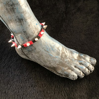 HOTI Hemp Handmade Heavy Metal Stud Spike Bead Anklet Black Bright Red Hemp Studs Cone Spikes Beads Women's Ladies Knotted Ankle Bracelet Hand Crafted Made in Toronto Made in Ontario Made in Canada Tattoo Punk Rocker Halloween Beaded Lobster Clasp Toronto Ontario Canada