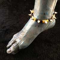 HOTI Hemp Handmade Heavy Metal Stud Spike Bead Anklet Black Bright Yellow Hemp Studs Cone Spikes Beads Women's Ladies Knotted Ankle Bracelet Hand Crafted Made in Toronto Made in Ontario Made in Canada Tattoo Punk Rocker Halloween Beaded Lobster Clasp Toronto Ontario Canada