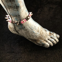 HOTI Hemp Handmade Heavy Metal Stud Spike Bead Anklet Black Bright Pink Hemp Studs Cone Spikes Beads Women's Ladies Knotted Ankle Bracelet Hand Crafted Made in Toronto Made in Ontario Made in Canada Tattoo Punk Rocker Halloween Beaded Lobster Clasp Toronto Ontario Canada