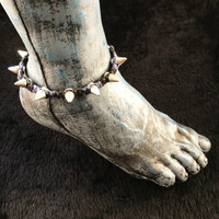 HOTI Hemp Handmade Heavy Metal Stud Spike Bead Anklet Black Navy Blue Hemp Studs Cone Spikes Beads Women's Ladies Knotted Ankle Bracelet Hand Crafted Made in Toronto Made in Ontario Made in Canada Tattoo Punk Rocker Halloween Beaded Lobster Clasp Toronto Ontario Canada