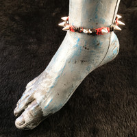 HOTI Hemp Handmade Heavy Metal Stud Spike Bead Anklet Black Burnt Red Hemp Studs Cone Spikes Beads Women's Ladies Knotted Ankle Bracelet Hand Crafted Made in Toronto Made in Ontario Made in Canada Tattoo Punk Rocker Halloween Beaded Lobster Clasp Toronto Ontario Canada