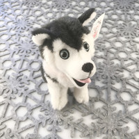 "Stuffed Animal House 7"" Siberian Husky Black White Sitting Happy Smiling Dog Plush Toy Canada Maple Leaf Collar Ribbon Fuzzy Furry Canadian Puppy Doggie Front"
