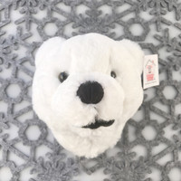 "Stuffed Animal House 6"" White Polar Bear Head Wall Toy Walltoy Mini Jr. Junior Wild Soft Furry Plush Critter Canadian North American Wildlife Hunting JR-03"