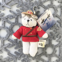 "Stuffed Animal House 5"" Standing RCMP Grey Husky Keychain Grey White Puppy Dog Wild Zipper Pull Mini Official Licensed Uniform Stetson Hat Maple Leaf Key Chain Tiny Soft Furry Fuzzy Clip Backpack Critter Royal Canadian Mounted Police Wildlife Canada Soft Plush Toy MP-KC-06"