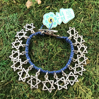 HOTI Hemp Handmade Star of David Charms Roach Clip Blue Hemp Ladies Womens Jewish Holiday Passover Hanukkah Hanukah Charm Bracelet Israel Made in Canada 4/20 Hand Crafted Made in Toronto Made in Ontario Boho Chic Antique Silver Pewter 420 Clip-It Cannabis Marijuana Mary Jane Weed Pot Dope Stoner Gift Alligator Clip Clasp Canadian Toronto Ontario Canada