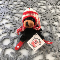 "Stuffed Animal House 3.5"" Skiing Black Bear Wintersports Knit Pilot Hat Canadian Winter Ski Keychain Zipper Pull Mini Red Plastic Skis Canada Maple Leaf Key Chain Tiny Soft Furry Fuzzy Clip Backpack Cute Wild Critter Plush Toy KS-SKI-01"